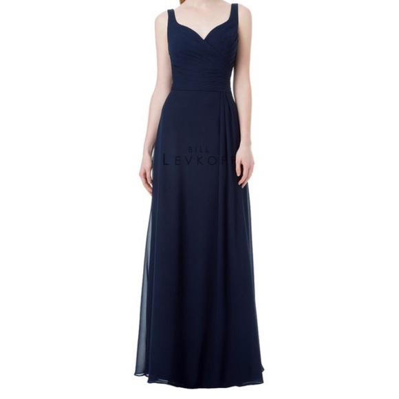 4f20cfbe82e Bill Levkoff Navy Bridesmaid Dress Style 1213